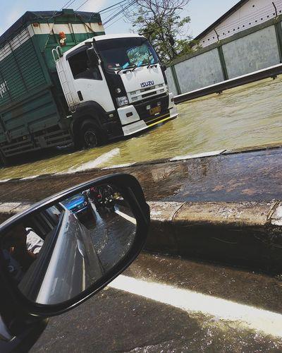Float Flood Flooded Streets Trucks Truck Isuzu Spion Car Cars City Road Car Land Vehicle Water Close-up