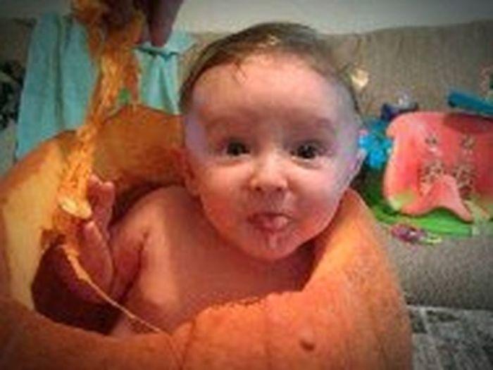 Gooey Pumpkin Play Happy Halloween! Child Portrait Childhood Baby Cute