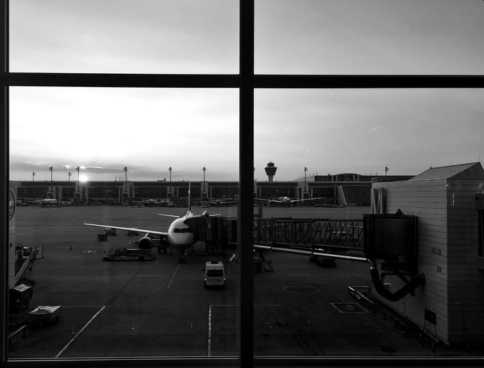 Airport Transportation Airplane Travel Airport Runway Mode Of Transport Sky Passenger Boarding Bridge Air Vehicle Tadaa Community IPhoneography From My Point Of View Blackandwhite Der Reisende Day Airport Departure Area Stationary Runway Commercial Airplane Indoors  No People