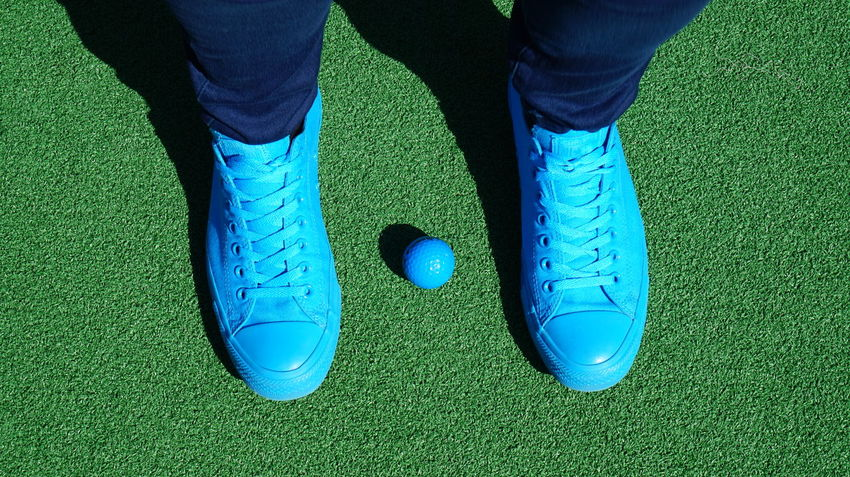 Blue Casual Clothing Close-up Footwear Golf Green Color Leisure Activity Lifestyles Low Section Multi Colored Unrecognizable Person