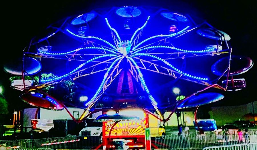 Carnival Paratrooper Fun Miami, FL Illuminated Multi Colored Amusement Park Arts Culture And Entertainment Night Amusement Park Ride Ferris Wheel Low Angle View Nightlife Outdoors No People Carousel Sky First Eyeem Photo