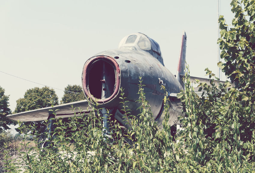 abandoned jet plane Abandoned Aeroplane Aged Aircraft Airplane Bizarre Concept Decay Discarded Dismissed DISUSED Fighter Jet Ground Horizontal Jet Military No People Old Out Of Context Plane Plants Run Down Seventies War Weathered