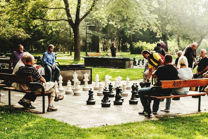 Lifestyles Leisure Activity Relaxation Men Chessgame Large Format