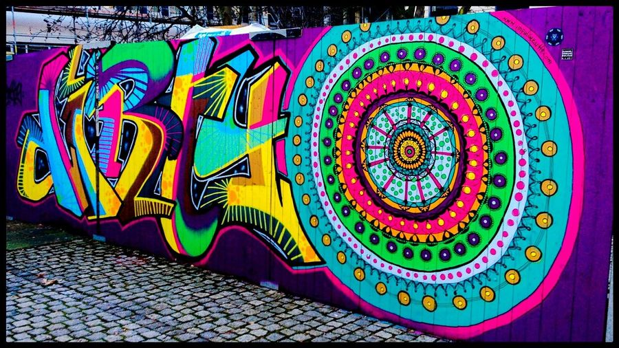 Psychedelic Multi Colored Pattern Outdoors Day No People Graffiti Street Art Psychedelic Münster, Germany