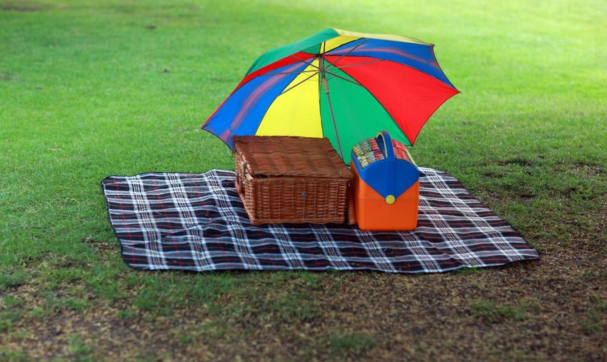 Picnic Basket With Umbrella On Mat At Grassland