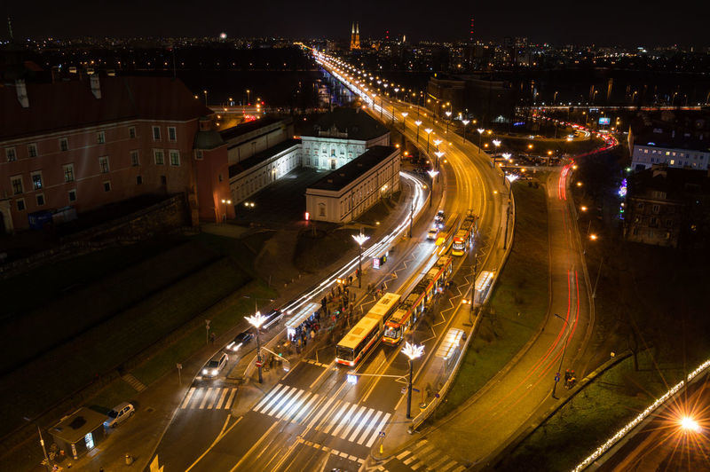 Poland Warsaw Europe Illuminated Night High Angle View City Architecture Transportation Road Built Structure Building Exterior Street Motion City Life Traffic Light Trail Long Exposure Cityscape Mode Of Transportation Speed Highway No People City Street Outdoors Multiple Lane Highway