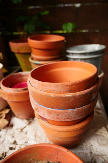 Clay Pots On Table At Porch