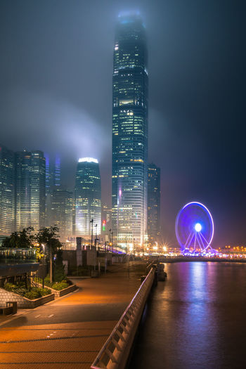 Architecture Building Building Exterior Built Structure City Cityscape Financial District  Illuminated Modern Nature Night No People Office Office Building Exterior Outdoors Sky Skyscraper Tall - High Tower Travel Destinations Urban Skyline Water