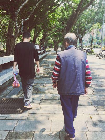Grandpa and uncle. Oldman Rear View Real People Full Length Footpath Tree Walking Plant Men Two People The Way Forward People EyeEmNewHere