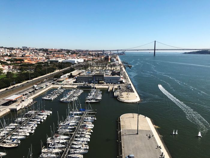 Yeah Panorámica Vistas Lisboa Portugal Belém Water Sea High Angle View Day Outdoors No People Nautical Vessel Transportation Sunlight Nature Sky Mode Of Transport Clear Sky Scenics Beauty In Nature Stories From The City