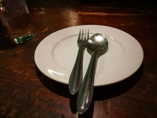 Dinner meal Plate Meal Thai Dinner Spoon And Fork Nightshot Wood - Material Wooden Table