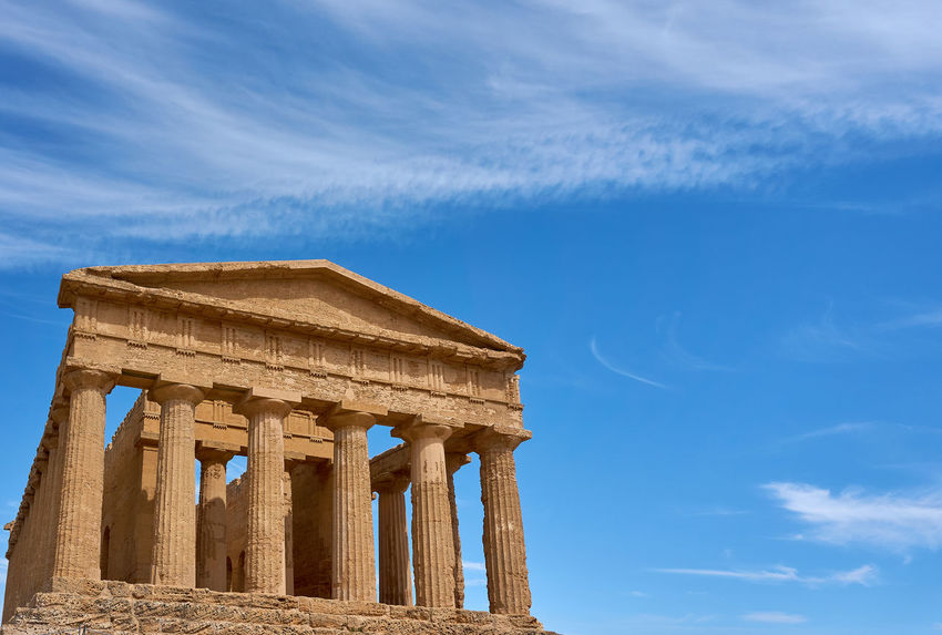 Concordia Temple Agrigento Ancient Archaeology Architectural Column Architecture Built Structure Cloud - Sky Concordia Temple Day History Low Angle View No People Sky Valley Of The Temples Your Ticket To Europe Been There. Done That. An Eye For Travel