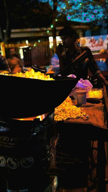 RuralIndia Popcorn Making Flame Night Carnival Mobilephotography