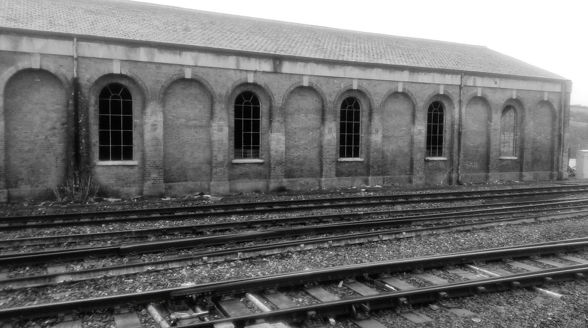 Railway Lines Engine Shed Old Buildings Derelict Atmospheric Photo Brick Devon England Great Western Railway Abandoned Buildings Deserted Architecture Urban Geometry Old Arched Windows Trains Bleak Industry Ruins Historical Building History Architecture Tracks Parallel Lines