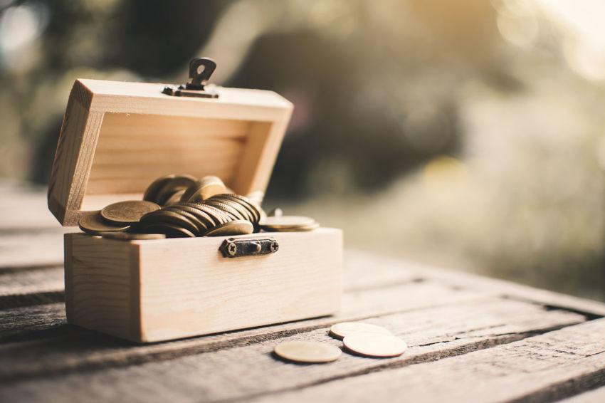 Box Brown Coins Old Savings Still Life Sunlight