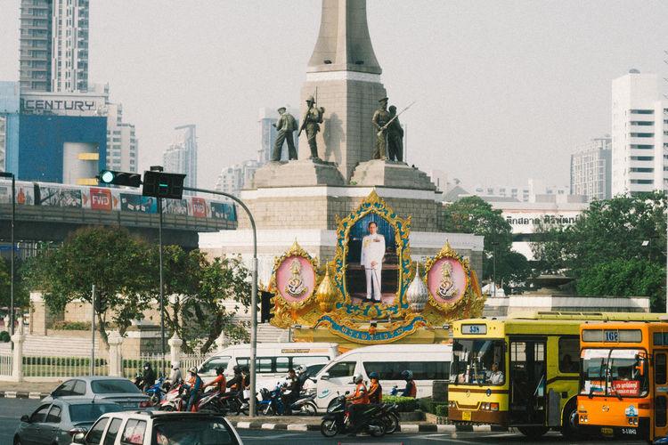 ASIA Bangkok Thailand. City Life Street Of Bang Traffic Victory Monument Bangkok