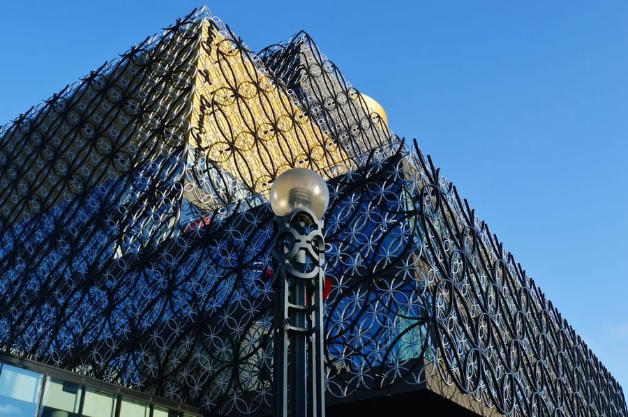 Seeing The Sights Birmingham Library Birmingham UK Cityscape Amazing Architecture Architecture_collection Perspectives Lookingup Blue Sky Shapes And Patterns  Urban Shapes My City Streetphotography Urbanphotography