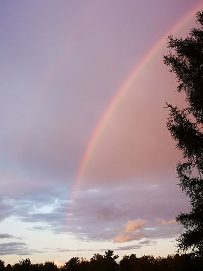 Low angle view of rainbow against sky at sunset