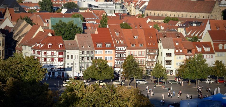 Architecture Building Building Exterior Built Structure City City Life City Street Cityscape Crowd Day Domplatz Domplatz / Erfurt Elevated View Green Color Growth Lifestyles Outdoors Residential Building Residential District Residential Structure Town Travel Destinations Tree