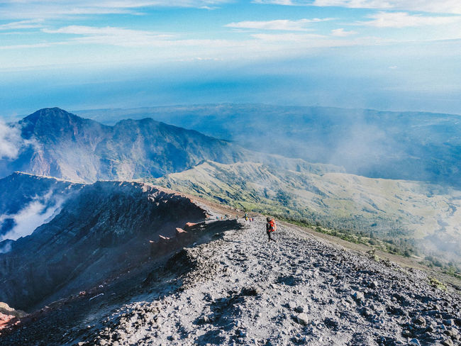 Mountain Beauty In Nature Scenics - Nature Sky Non-urban Scene Leisure Activity Real People Landscape Nature Cloud - Sky Mountain Range Environment Tranquil Scene Lifestyles Day Tranquility Hiking Adventure Men Activity Outdoors Volcanic Crater