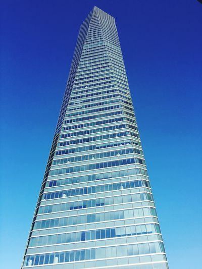 Architecture City Modern Blue Travel Minimalism Pyramid Tower Skyscraper Madrid Clear Sky Futuristic No People Architecture_collection Cuatrotorres  Travel Destinations Low Angle View Towers And Sky Building Exterior Tall - High Built Structure