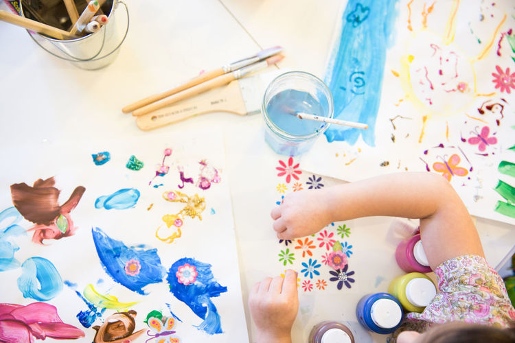 Art Art, Drawing, Creativity Arts And Crafts ArtWork Childhood Children Creativity Directly Above Finger Painting Fun Human Hand Kids Painting