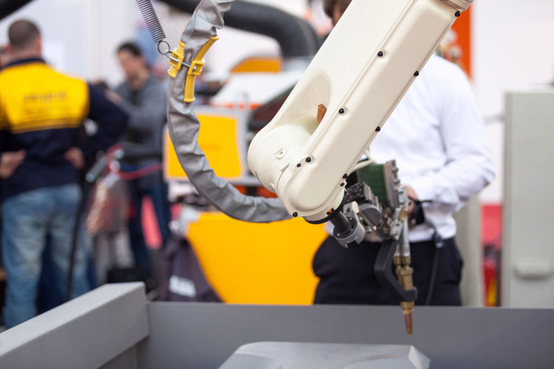 Day Factory Indoors  Industry Manufacturing Equipment Mechanic Metal Metal Industry Occupation People Production Robot Art Robotics S Skill  Technician Technology Tool Welding Working Working