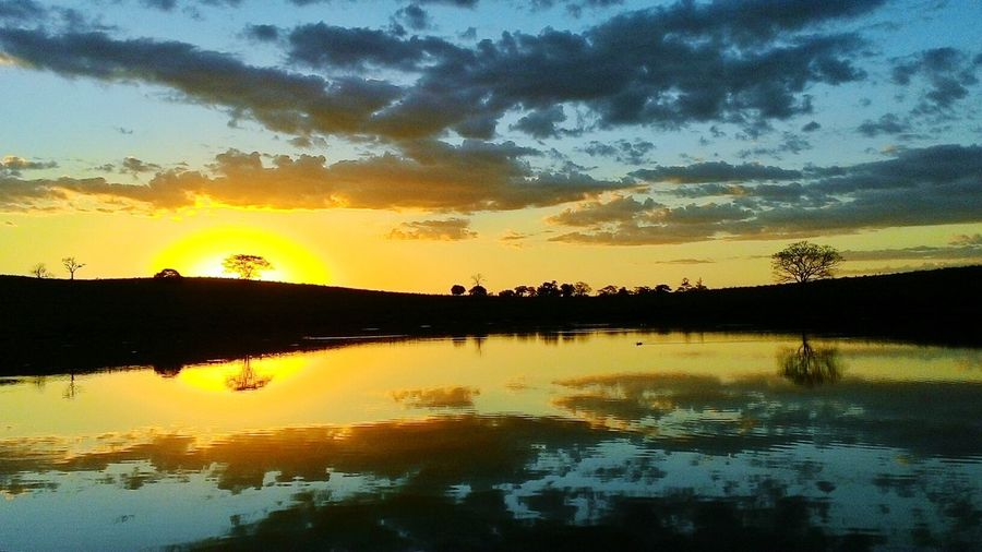 Water Sunset Tree Lake Silhouette Mountain Multi Colored Yellow Reflection Dramatic Sky First Eyeem Photo