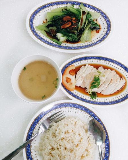 Bowl Chicken Rice Composition Culture Directly Above Food Food And Drink Freshness Healthy Eating Healthy Lifestyle Indoors  Meal Overhead View Perspective Plate Preparation  Ready-to-eat Serving Size Soup Spoon Still Life Table Temptation Top Perspective