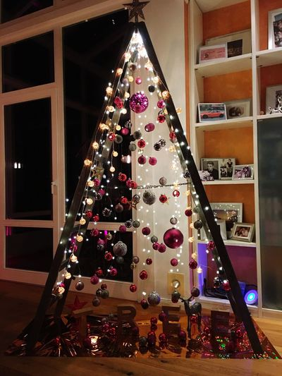 Christmas Celebration Christmas Decoration Christmas Tree Indoors  Illuminated Night Christmas Ornament Christmas Lights Home Interior Holiday - Event No People Childhood xMas XMas-Tree Ladder Christmas Ladder