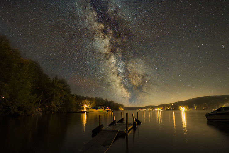 Milky Way over Lac Simon, Quebec, Canada Lac Simon, Quebec Nikon D750 Tamron 15-30mm Water Reflections Astronomy Beauty In Nature Canada Galaxy Illuminated Lake Milky Way Nature Nautical Vessel Night No People Outdoors Reflection Scenics Sky Starry Tranquil Scene Tranquility Tree Water Waterfront Go Higher