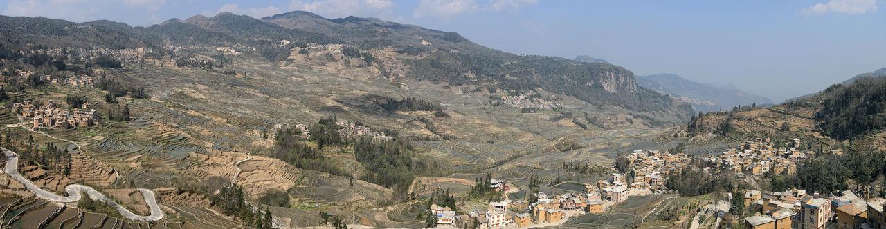 Panoramic view of rice terraces at yuanyang county