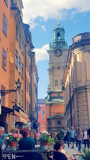 Church Building Exterior City Architecture Old Town Square History Outdoors Urban Skyline People Tourism Stockholm Sweden Travel Destinations Gamla Stan