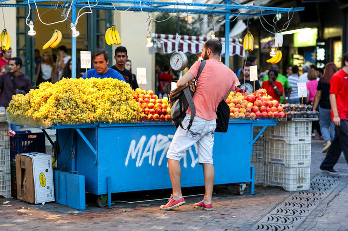Fruit stall Athens Display For Sale Freshness Fruit Fruit Stall Greece Lifestyles Market Market Stall Monastiraki Monastiraki Square Monastiraki Square, Athens Outdoors Retail  Scales Shop Small Business Store Street Market