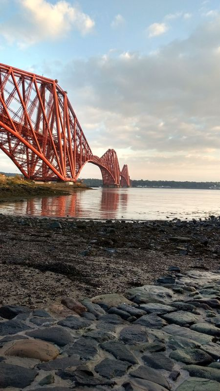 Forth Rail Bridge Water Bridge - Man Made Structure Sky Connection Built Structure Cloud - Sky Architecture Red Travel Destinations Riverbank Cloud Scenics Tranquility Nature Engineering Tranquil Scene Sea Tourism Shore Day ForthBridge Scotland 💕