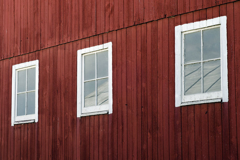 White Windows on a Red Barn American Architecture Baby Closed Crimson Detail House Paint Red United States White Window Windows Wood Wooden