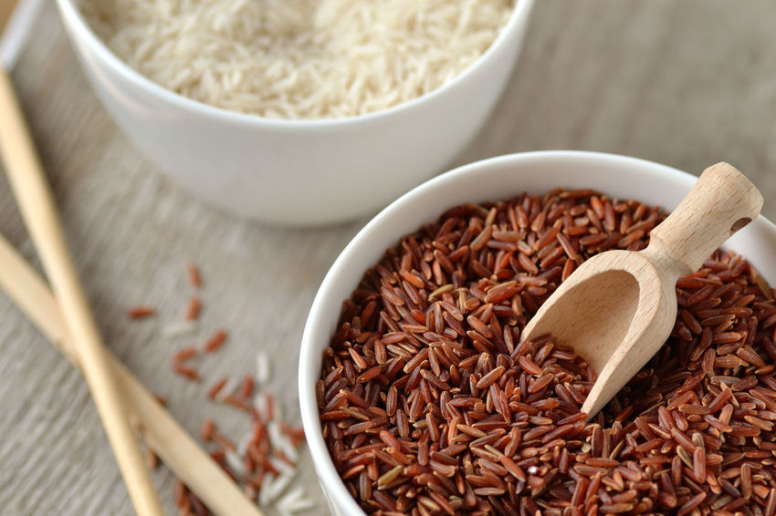 Basmati Rice Biological Food Bowl Bowls Cereal Chopstick Close-up Cultures Food Food And Drink Grain Healthy Eating Ingredient Natural No People Organic Food Raw Red Rice Rice Studio Shot