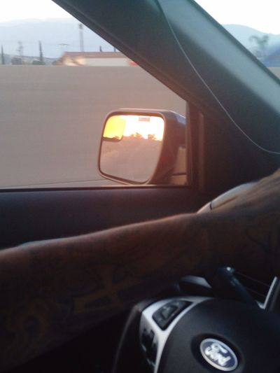 Best day ever. Driving Home Sunset Mirriorshot Tattoos MeinAutomoment