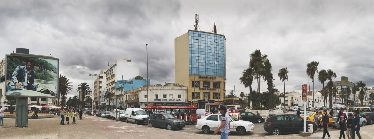Cars City City City Life Clouds And Sky Cloudy Day Old Buildings Palm Trees Street Traffic Tunisia