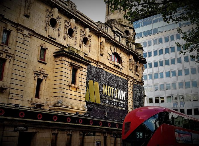 Here is a colour shot taken outside of a London Westend Theatre which currently has the musical called Motown the Musical. Architecture Building Exterior Built Structure City Day England England, UK Great Britain Historical Historical Building History London London Lifestyle London Transport LONDON❤ Low Angle View Musicals No People Outdoors Red And Black Colour Sky Theatre Arts Uk Westend London Yellow And Black