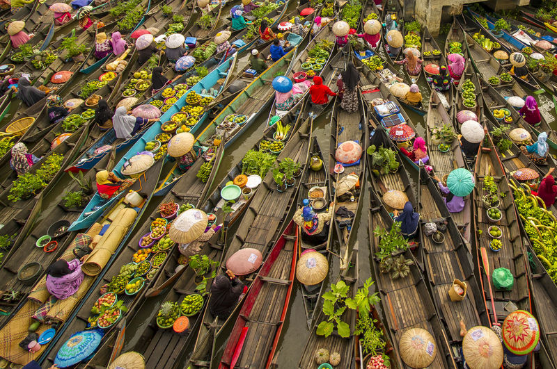 High angle view of multi colored flowering plants in market