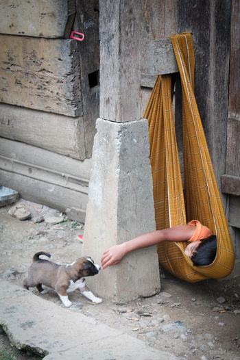 Man lying down resting on floor