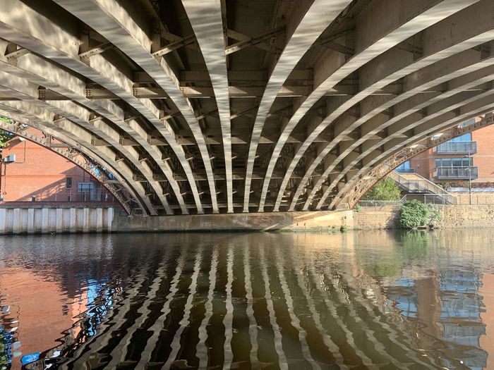 Under Crown Point Bridge. Architecture Built Structure Water Bridge Connection Bridge - Man Made Structure Reflection Transportation Incidental People Ceiling Day Nature Real People Pattern Indoors  Underneath Arch River Architectural Column