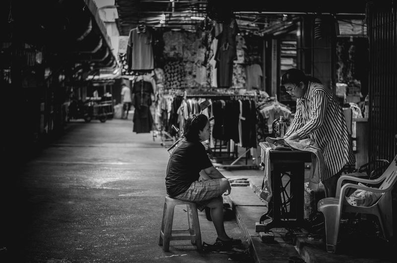Simple life. . 1/80sec. f./2 iso400 focal length 50mm Activity At Work Blackandwhite Classic Photography Classic Street Life Monochrome People Real People The Street Photographer - 2017 EyeEm Awards Two People Women
