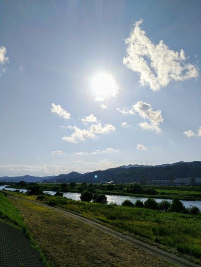 Sun Cloud - Sky Sky Rural Scene Agriculture Landscape Outdoors Sunlight Nature Day No People Beauty In Nature Grass Tree 🇯🇵 Japan River View Scenery Japan Lovers Toyama Japan Riverside Beauty In Nature Clear Sky Nature Tree River