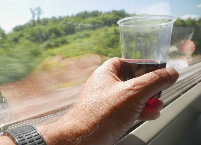 Cropped hand holding wineglass in train