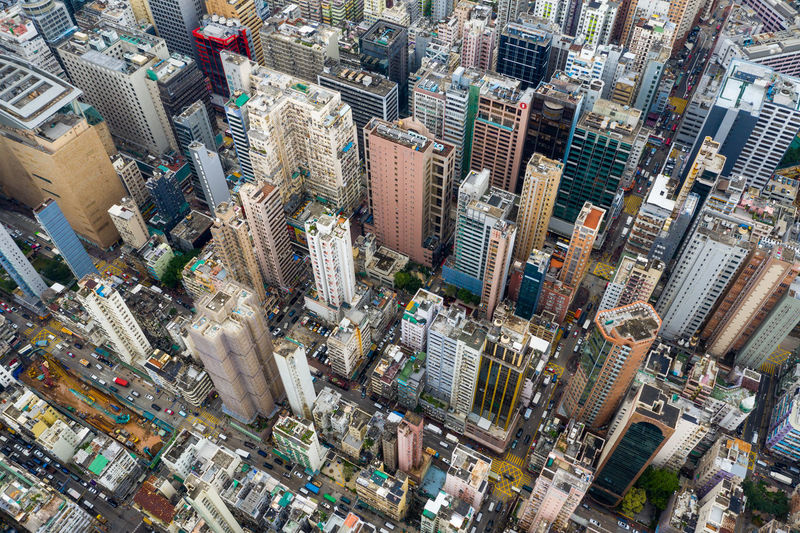 Top view of Hong Kong city Hong Kong Top View City Mong Kok Kowloon Side District Aerial Urban Building Drone  Architecture Business China Financial Skyscraper Tall Perspective Fly Over Above Down Top Down Bird Eye Hk Hong Kong Downtown Public House Apartment Residential