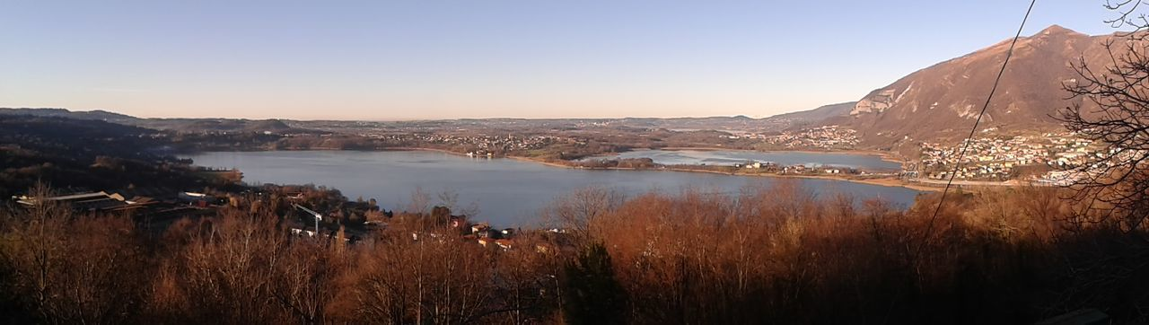 Panoramic view of lake by monte barro against sky
