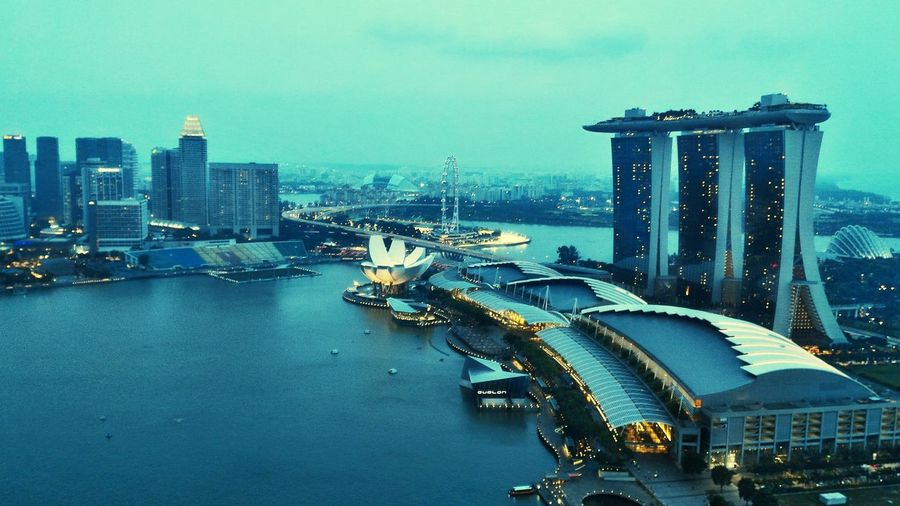 High Angle View Of Marina Bay Sands Against Sky