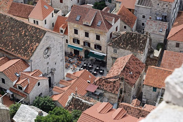 Pastel Power Harmony From Above  Roof Kotor, Montenegro Rooftop Tiny Restaurant Streetphotography Street Photography Front View Outdoors No People Street Alley Everything In Its Place EyeEm Best Shots Way Path Nature City Cityscapes Old Buildings Town Kotor